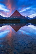 Preview iPhone wallpaper Sinopah Mountain, Two Medicine Lake, water reflection, Glacier National Park, USA