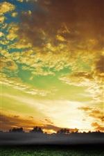 Sky, clouds, sunset, fields