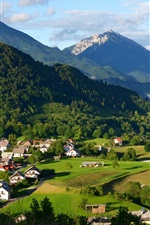 Preview iPhone wallpaper Slovenia, houses, mountains, trees