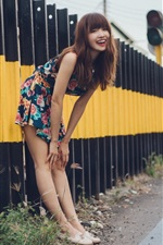 Preview iPhone wallpaper Smile Asian girl, railroad, fence