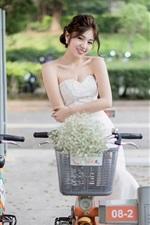 Smile Chinese girl, street, bikes