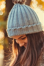 Preview iPhone wallpaper Smile girl in autumn, hat, glare