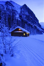 Snow, hut, lights, mountains, trees, evening