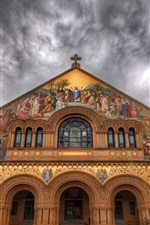 Preview iPhone wallpaper Stanford Church, painting, mural, street, clouds
