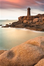 Preview iPhone wallpaper Stones, rocks, lighthouse, sea