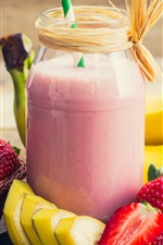 Preview iPhone wallpaper Strawberry, banana, drinks, smoothies