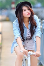 Preview iPhone wallpaper Summer, Asian girl, bike