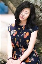 Preview iPhone wallpaper Summer Asian girl, sadness