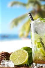 Preview iPhone wallpaper Summer drinks, cocktail, mojito, lime, mint