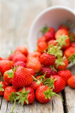 Summer fruit, strawberry, bowl, table