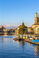 Preview iPhone wallpaper Switzerland, Zurich, piers, bridge, river, houses