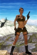 Preview iPhone wallpaper Tomb Raider, Lara Croft, gun, helicopter, mountains