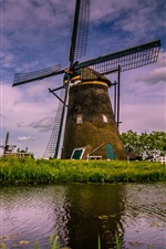 Preview iPhone wallpaper Travel to Netherlands, windmill, river, bridge