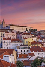 Preview iPhone wallpaper Travel to Portugal, Lisbon, city, houses, morning