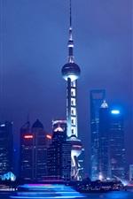 iPhone fondos de pantalla Viajes a Shanghai, China, noche, río, rascacielos, torre, luces