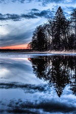 Preview iPhone wallpaper Trees, lake, water reflection, thick clouds, dusk