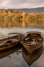Preview iPhone wallpaper Two boats, lake, trees, autumn