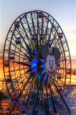 Preview iPhone wallpaper USA, ferris wheel, roller coaster, dusk, Children's Paradise