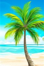 Preview iPhone wallpaper Vector design, beach, palm trees, sun, sea, boats, birds