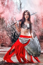 Preview iPhone wallpaper Warrior girl, Asian, red dress, sword, water, retro style