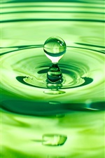 Preview iPhone wallpaper Water, waves, drops, green