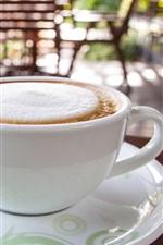 White cup, coffee, foam, drinks