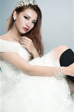 Preview iPhone wallpaper White dress Asian girl, bride, pose