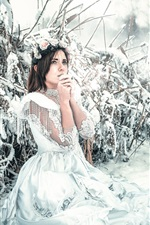 Preview iPhone wallpaper White dress girl in winter, snow, cold