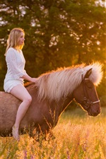 Preview iPhone wallpaper White dress girl riding horse, grass, sunshine