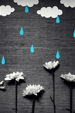 Preview iPhone wallpaper White flowers, blue rain, white clouds, creative picture