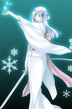 White hair anime girl, kimono, sword, snowflakes