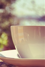 Preview iPhone wallpaper White mug cup, saucer, sunlight
