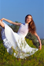 Preview iPhone wallpaper White skirt girl, pose, smile