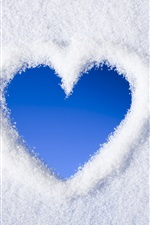 Preview iPhone wallpaper White snow, blue love heart
