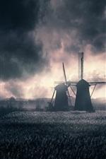 Windmills, field, clouds, dusk
