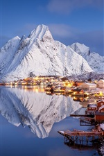 Preview iPhone wallpaper Winter, beautiful village, islands, mountains, snow, pier, water