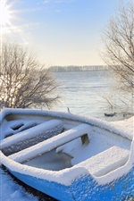 Preview iPhone wallpaper Winter, snow, boat, trees, river