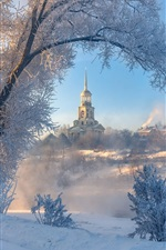 Preview iPhone wallpaper Winter, snow, trees, buildings, town, Torzhok, Russia