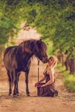 Preview iPhone wallpaper Woman and horse, road, trees