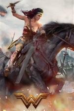 Preview iPhone wallpaper Wonder Woman, war, riding horse, Gal Gadot