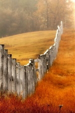 Preview iPhone wallpaper Wood fence, grass, autumn