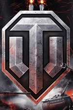 Preview iPhone wallpaper World of Tanks, logo, sparks