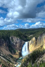 Preview iPhone wallpaper Wyoming, National Park, Yellowstone Lower Falls, canyon, forest, USA