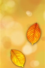 Yellow leaves, ladybug flying, creative picture