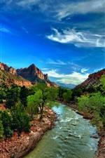 Zion National Park, Utah, USA, river, bushes, trees, mountains, clouds