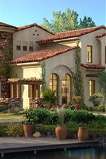 Preview iPhone wallpaper 3D design, houses, trees, villa