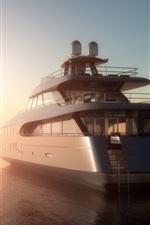 3D design, sea, yacht, fog, dawn