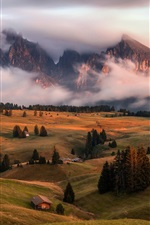 Preview iPhone wallpaper Alps, mountains, fog, trees, houses, village, greens
