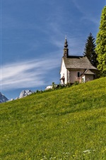 Alps, slope, mountains, church