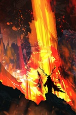 Preview iPhone wallpaper Art picture, fire, lava, horns